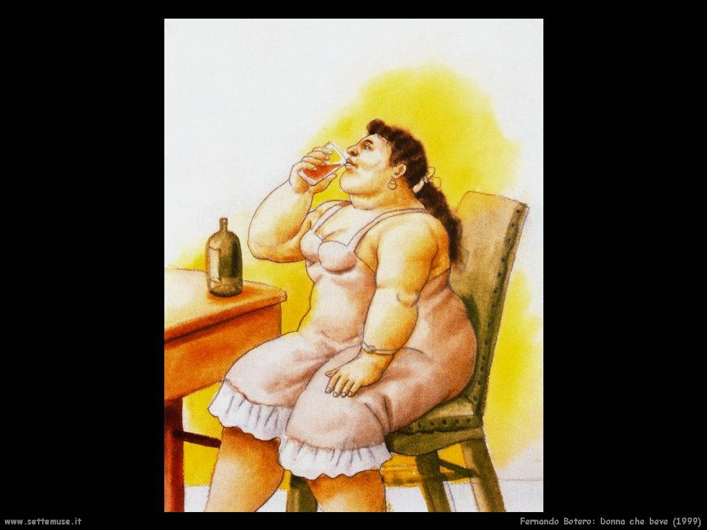 Fernando Botero_donna_che_beve_1999