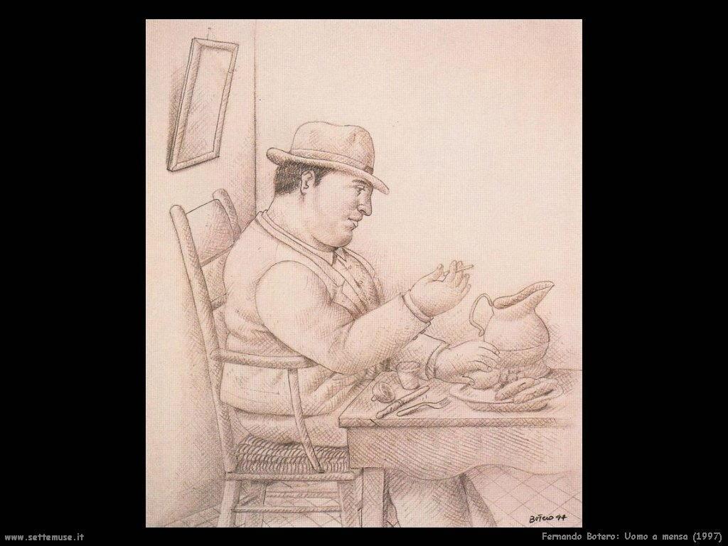 Fernando Botero_uomo_a_mensa_1997