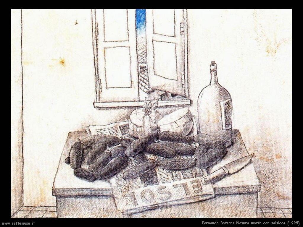 Fernando Botero_natura_morta_con_salsicce_1999 artwork