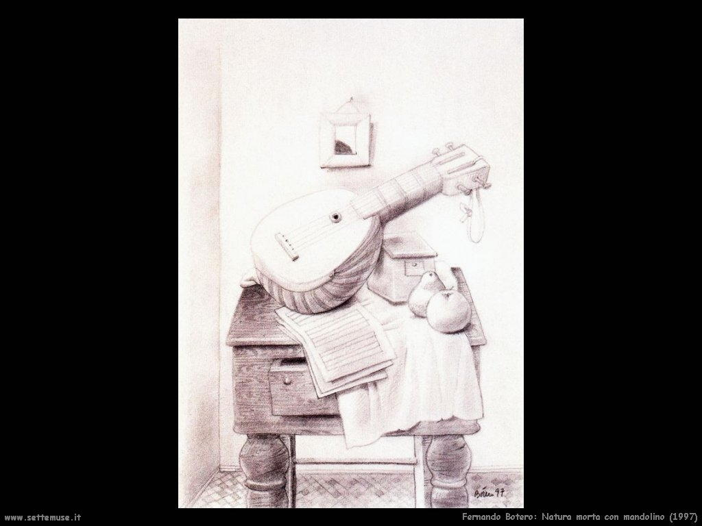 Fernando Botero_natura_morta_con_mandolino_1997
