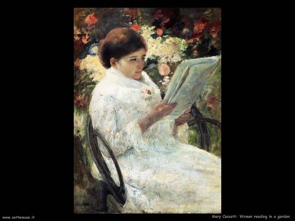 Mary Cassatt Donna che legge in giardino