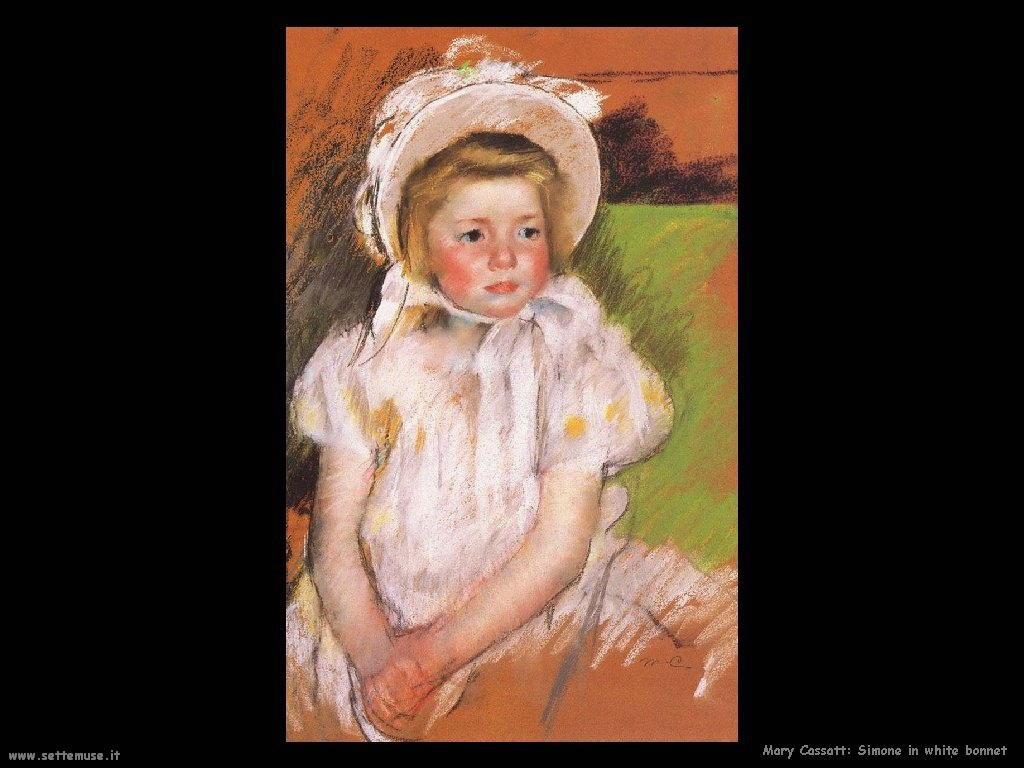 Mary Cassatt Simona con il vestito bianco