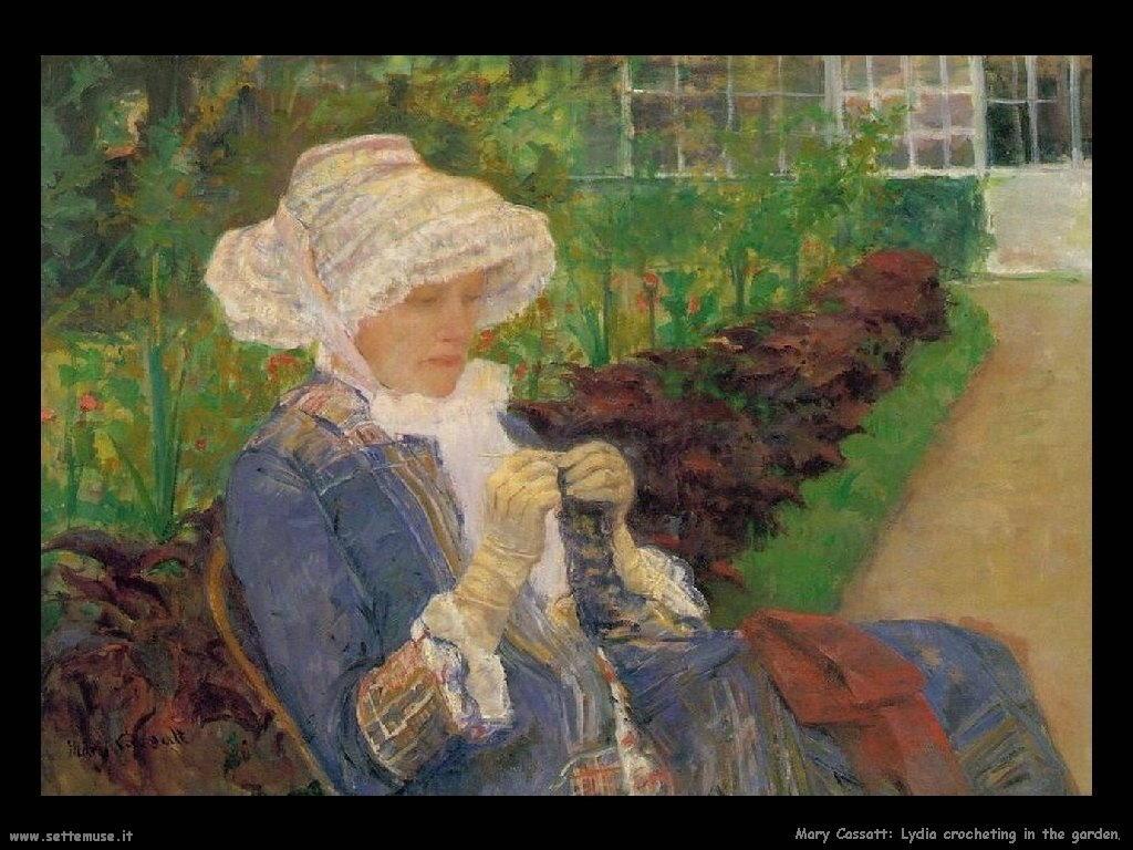 Mary Cassatt Lydia lavora a uncinetto nel giardino di Marly