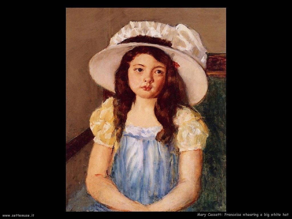 Mary Cassatt Francis con un grande cappello bianco