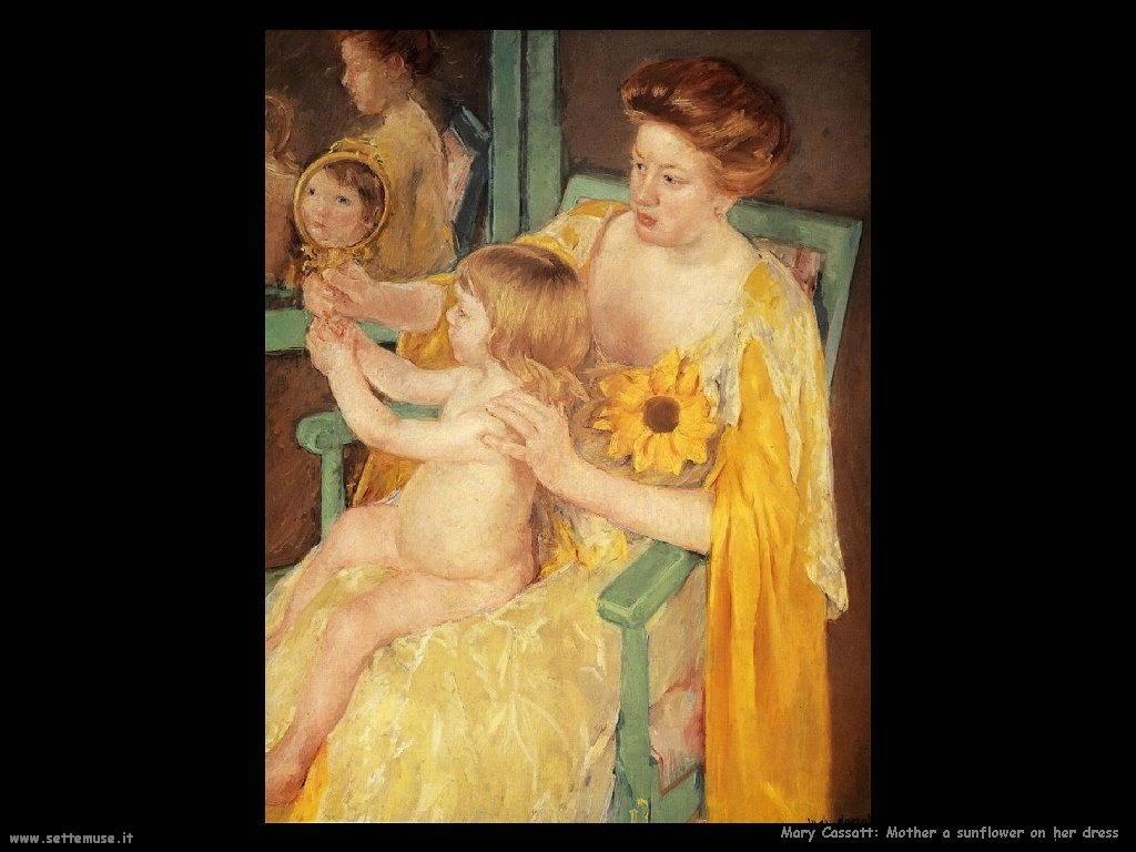Mary Cassatt mamma con girasole sul vestito
