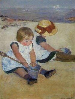 Mary Cassatt bambini in spiaggia