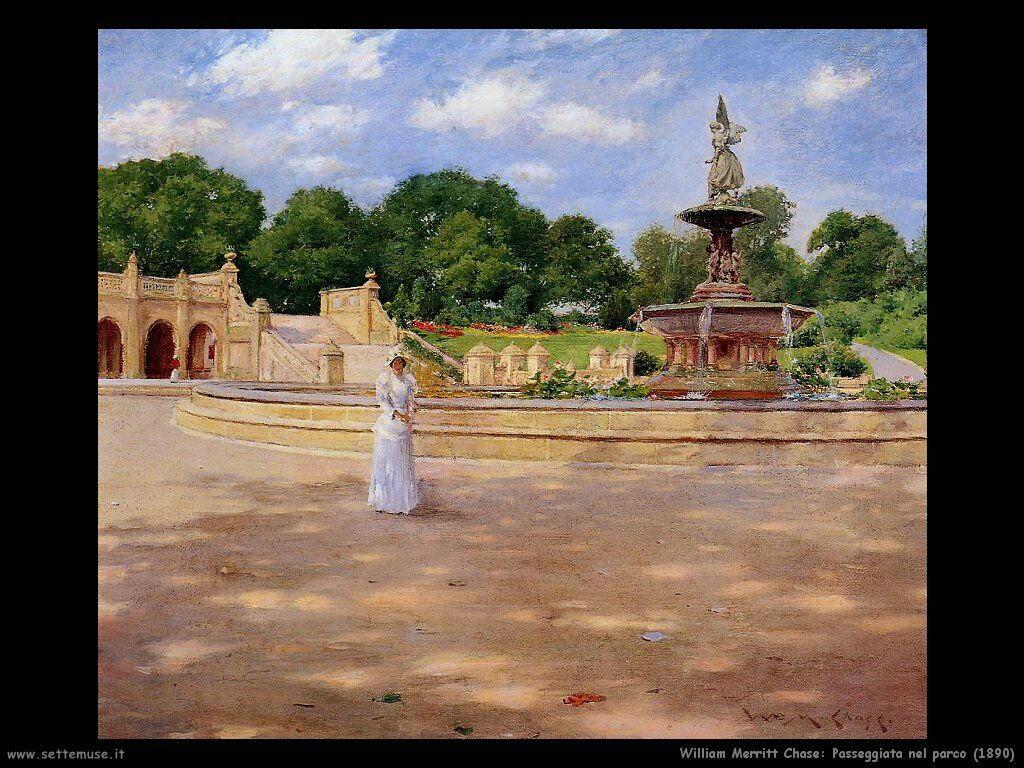 william_merritt_chase_passeggiata_nel_parco_1890