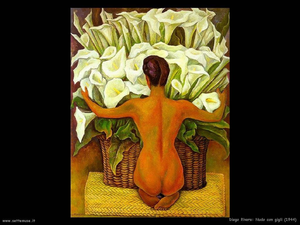 Diego Rivera nudo con gigli 1944