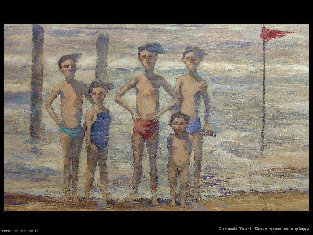 giampaolo_talani_cinque_ragazzi_sulla_spiaggia