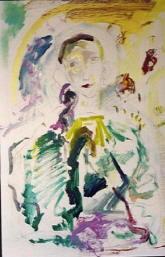 Pittura di Ernesto Treccani  Figura dorata 1980