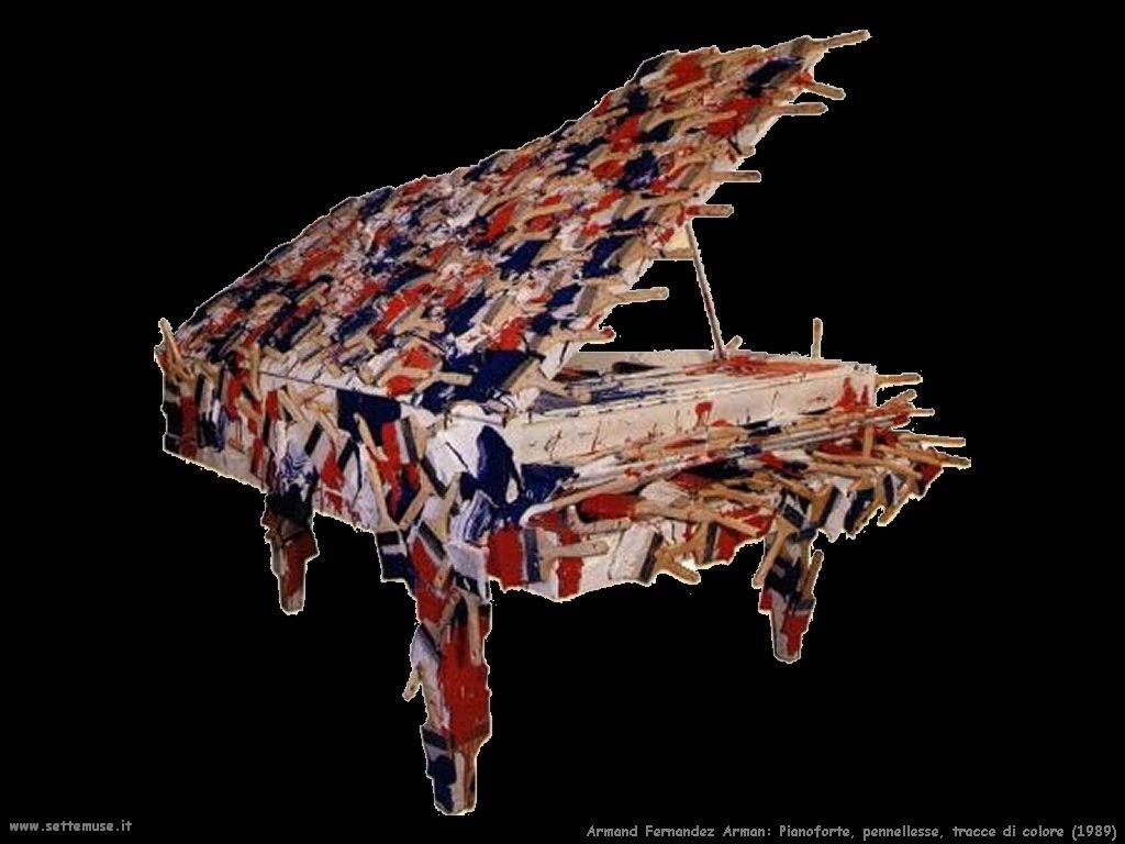 Pierre Fernandez Arman_pianoforte_pennellesse_tracce_colore_1989
