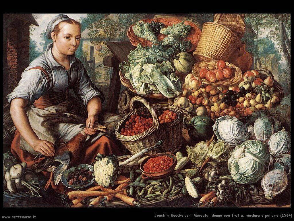 Mercato, donna con frutta, verdura e pollame (1564)