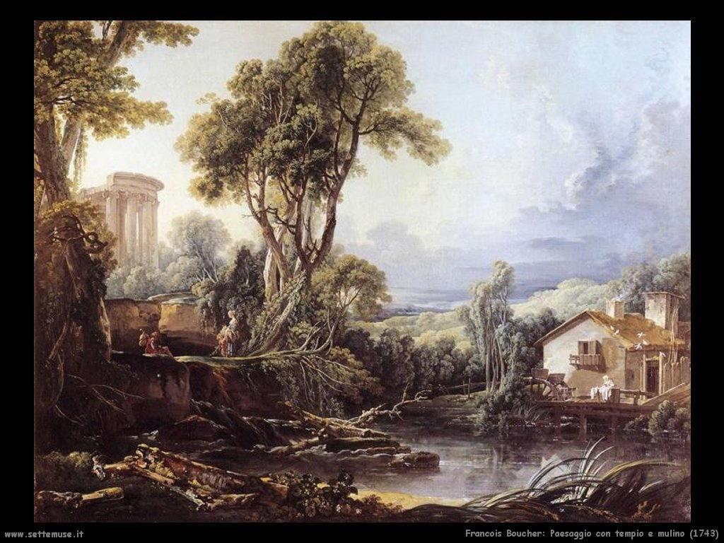 Paesaggio con tempio e mulino (1743)