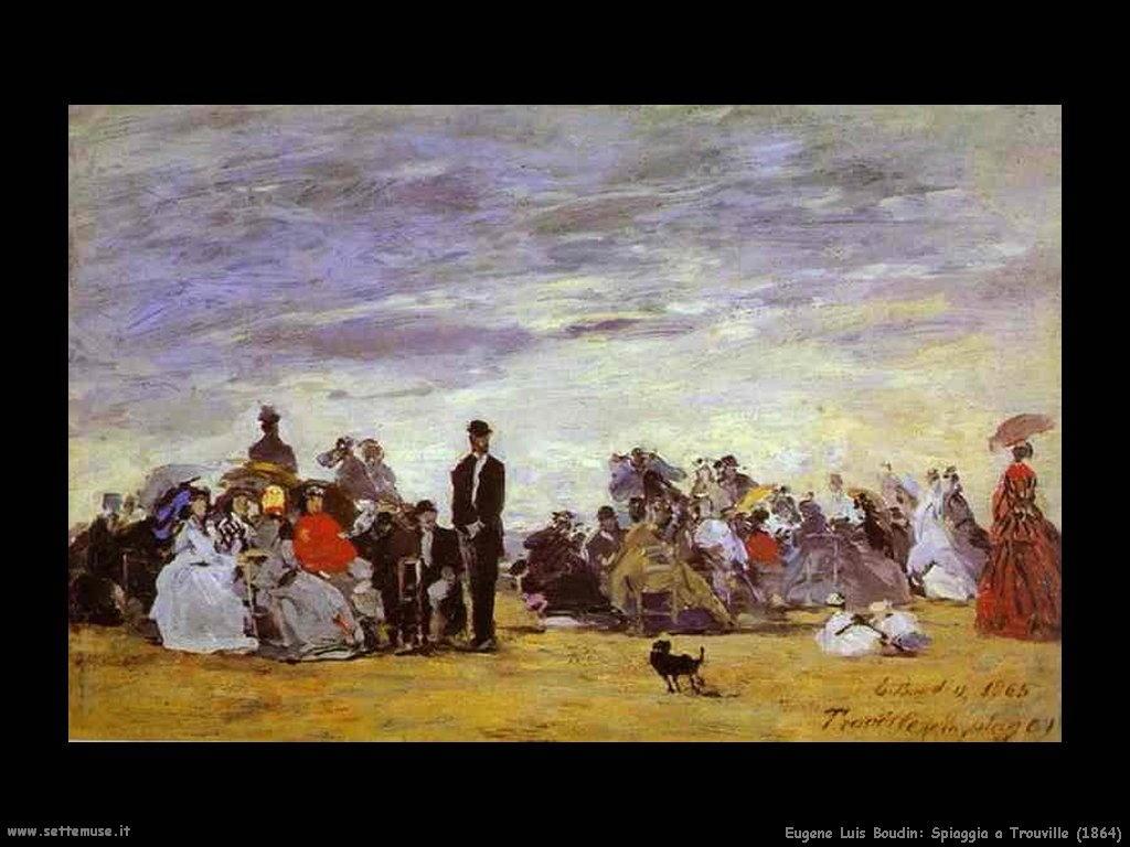 Eugène Louis Boudin_spiaggia_a _Trouville_1864