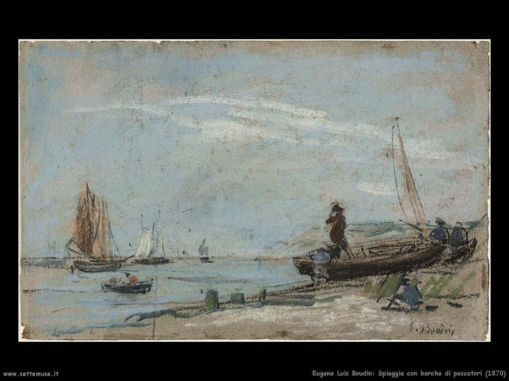 Eugène Louis Boudin_spiaggia_con_barche_1870