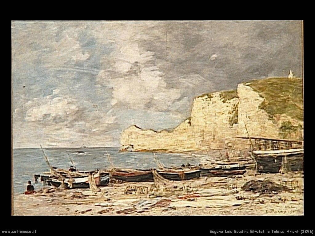Eugène Louis Boudin_Etretat_la_falaise_Amont_1896