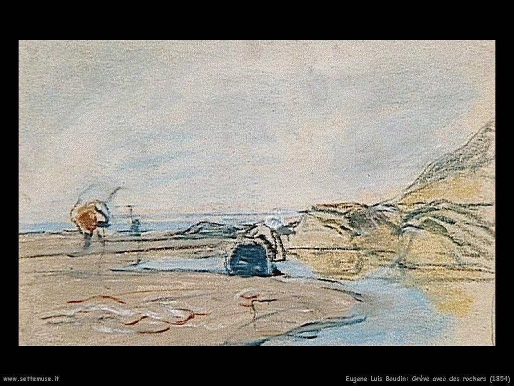 Eugène Louis Boudin_Grève_avec_des_rochers_1854