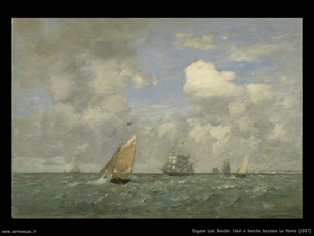 Eugène Louis Boudin_Ships_and_Sailing_Boats_Leaving_Le_Havre_1887