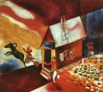 Dipinto di Marc Chagall  Il carro volante 1913