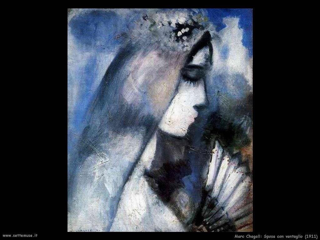 Marc Chagall sposa con ventaglio 1911