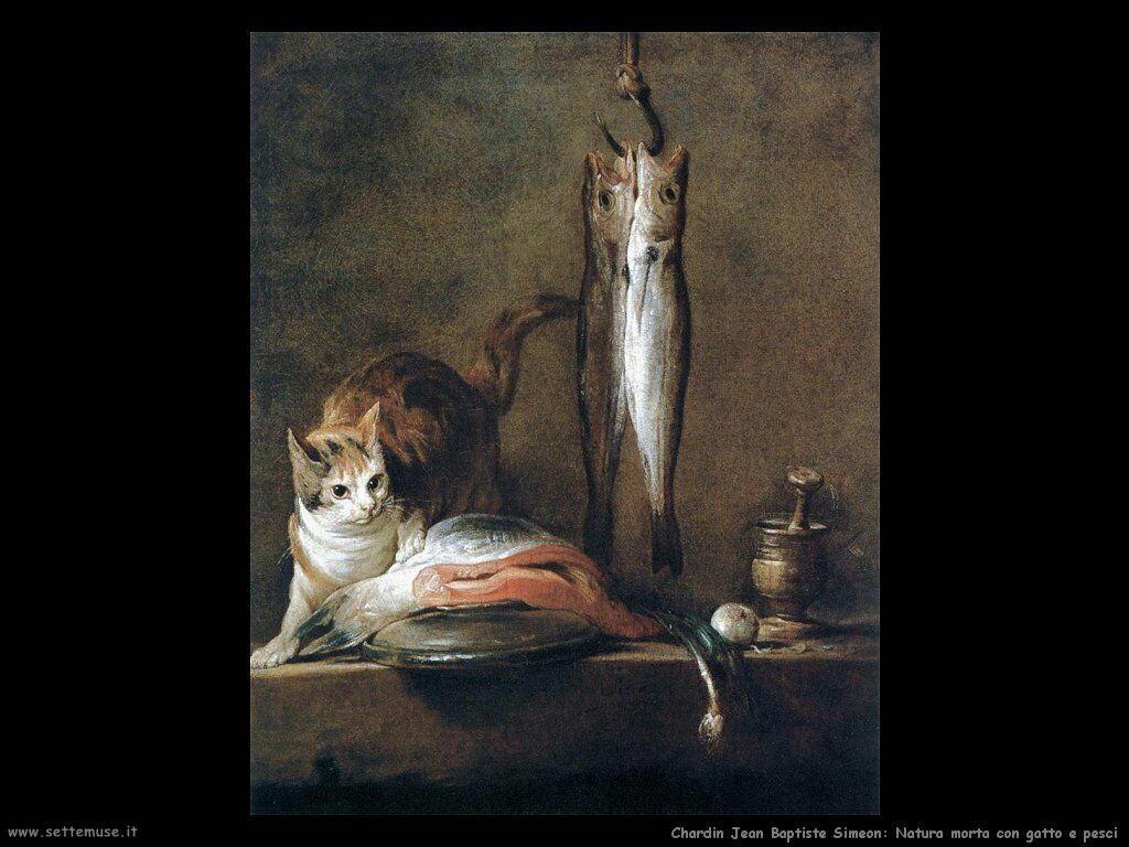 Natura morta con gatto e pesci