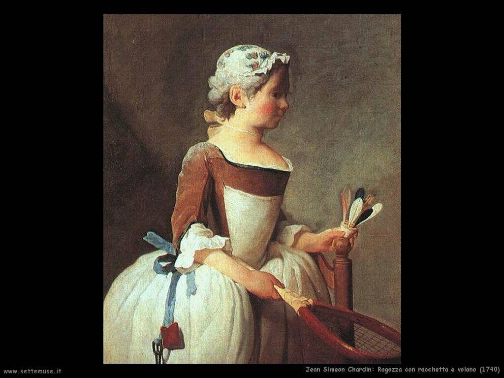 Jean Baptiste Chardin,  ragazza con racchetta e volano 1740g