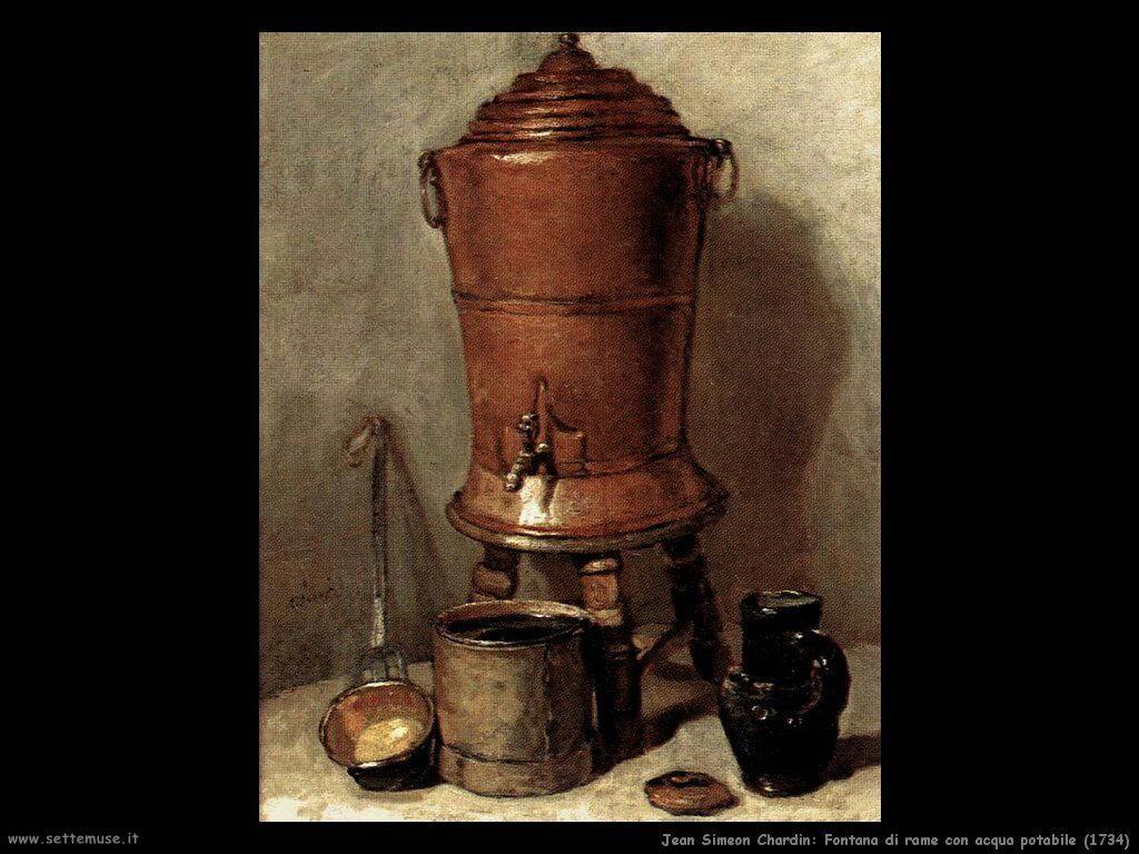 Jean Baptiste Chardin,  fontana di rame con acqua potabile 1734