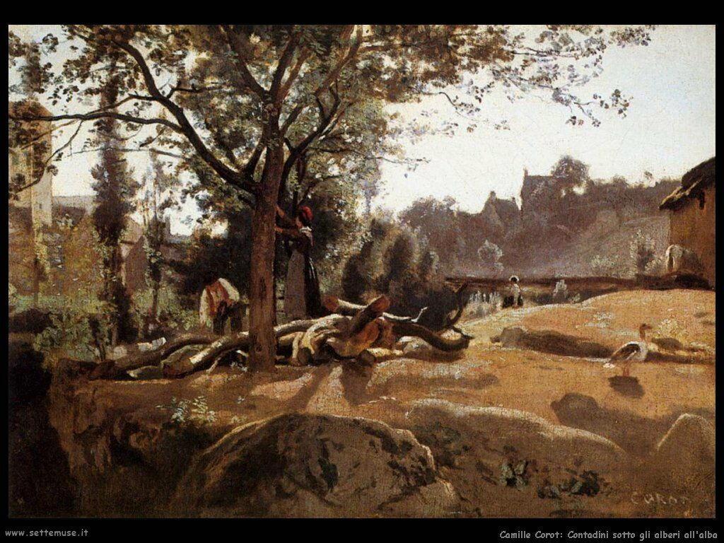 camille corot contadini sotto alberi all alba
