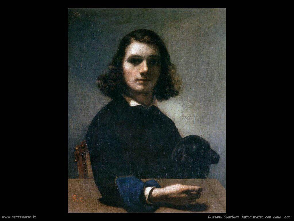 Autoritratto di Courbet con cane nero