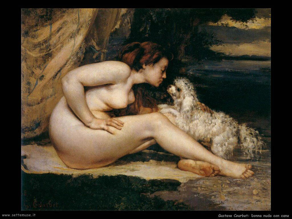 Donna nuda con cane