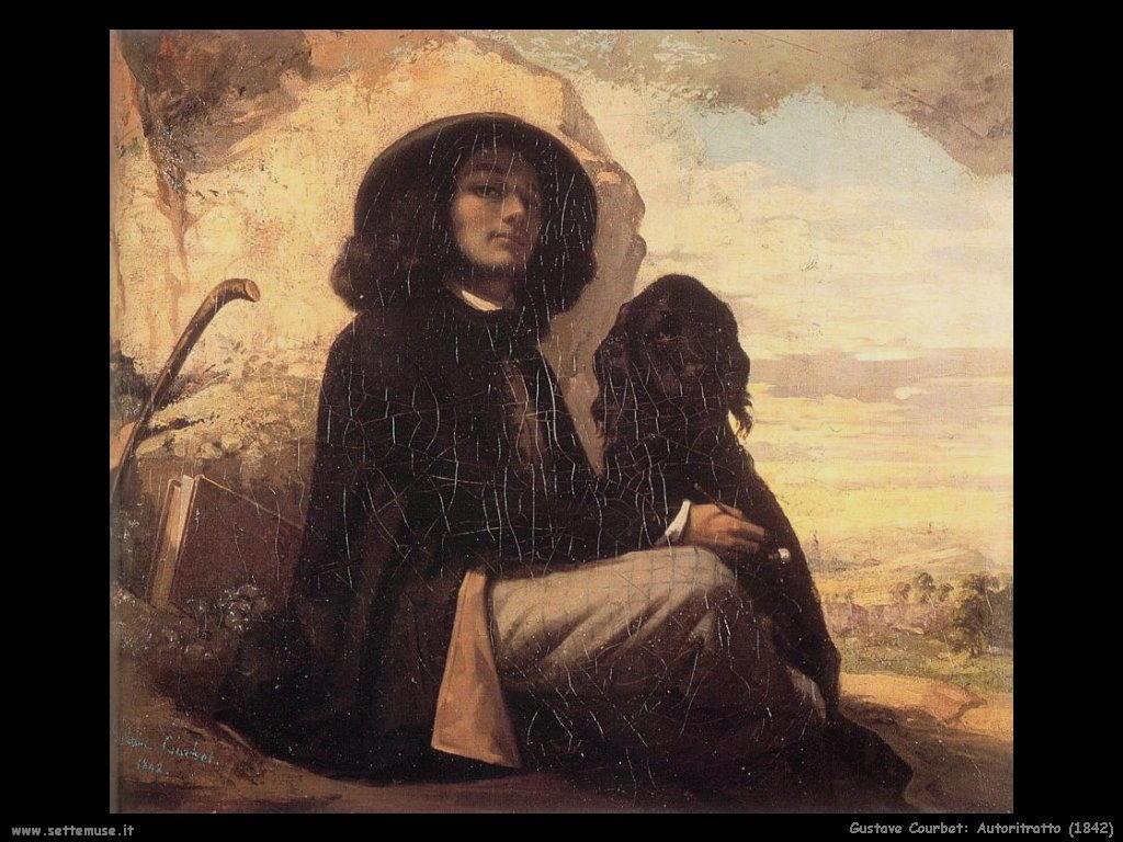 Autoritratto con cane nero (1842)