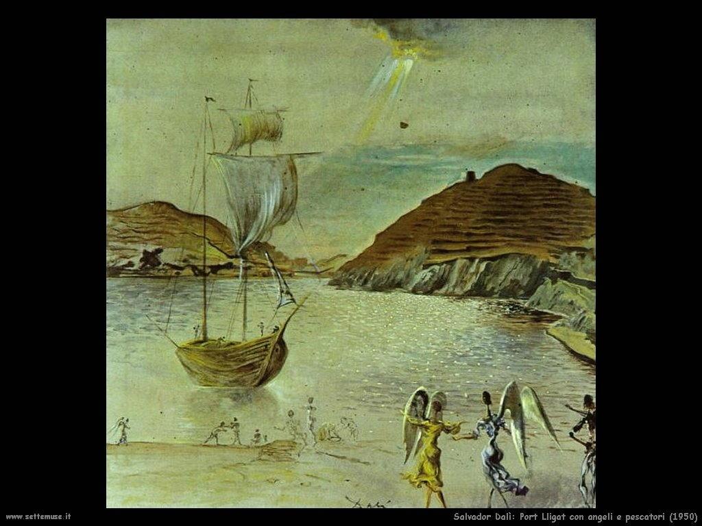 Salvador Dalì_port_lligat_con_angeli_e_pescatori