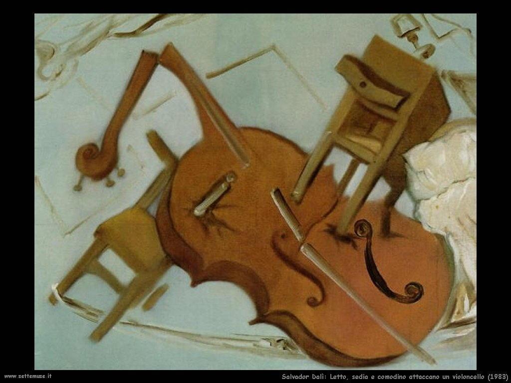 Salvador Dalì  letto_sedia_comodino_attaccano_violoncello