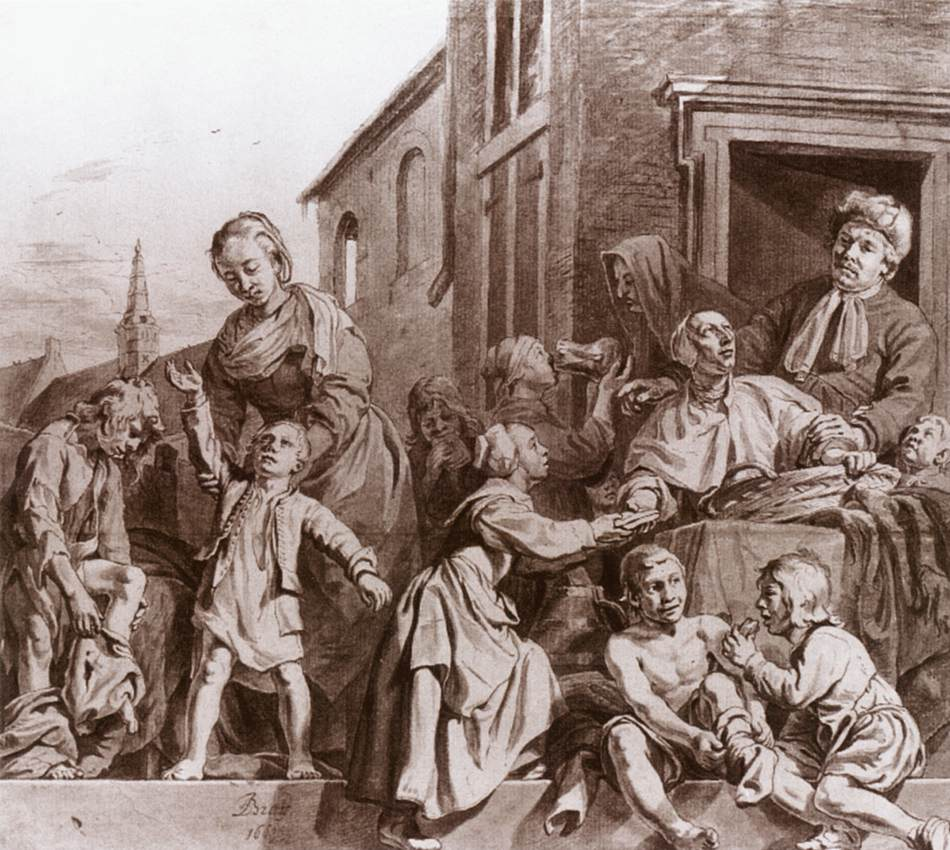 jan de bray tending children in the orphanage