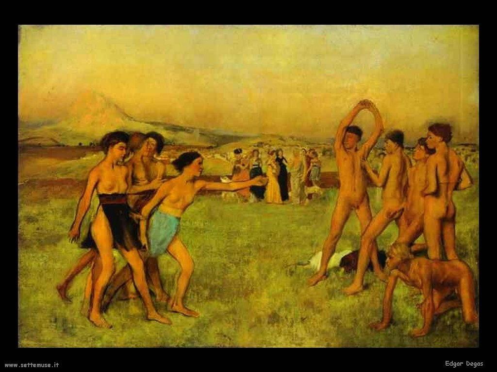 Edgar Degas_ragazze_spartane_sfidano_ragazzi_1860