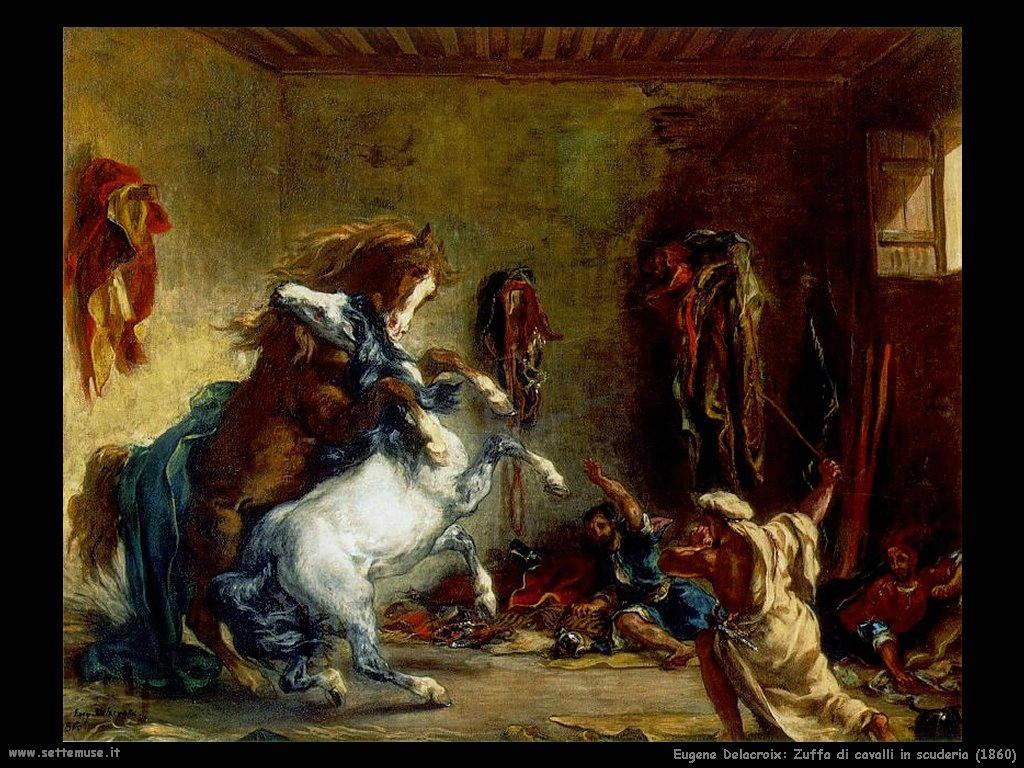 Eugène Delacroix_zuffa_cavalli_in_scuderia_1860