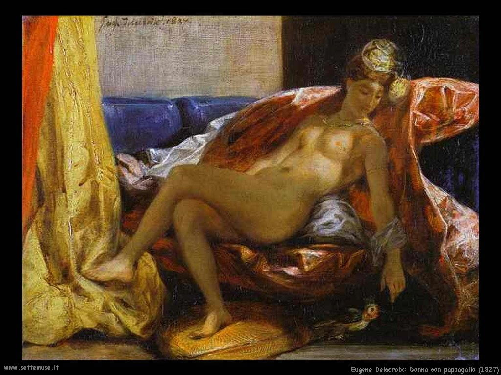 Eugène Delacroix_donna_con_pappagallo_1827