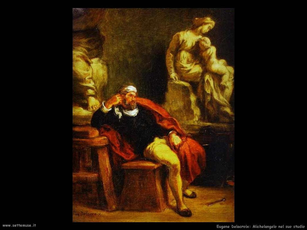 Eugène Delacroix Michelangelo nel suo studio