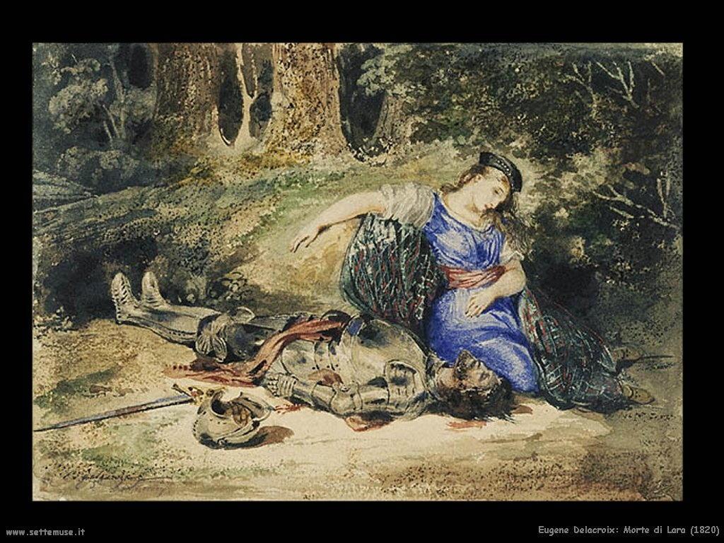 Eugène Delacroix_morte_di_lara_1820