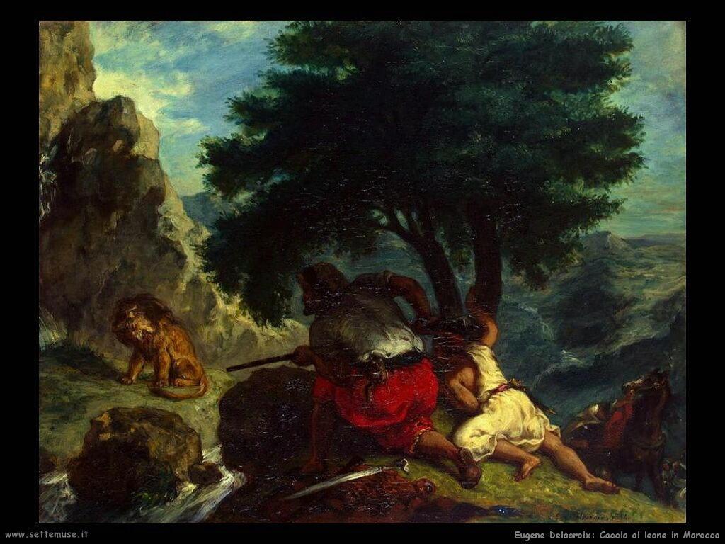 Eugène Delacroix Caccia al leone in Marocco