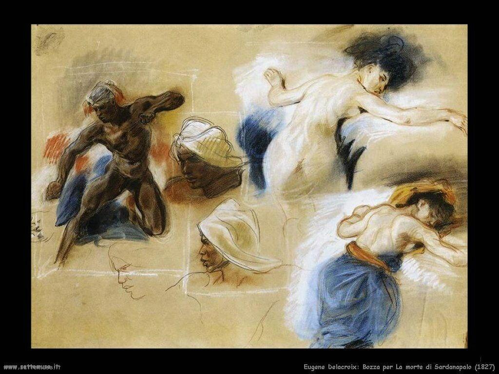 Eugène Delacroix Morte di Sardanapalo 1827 bozza