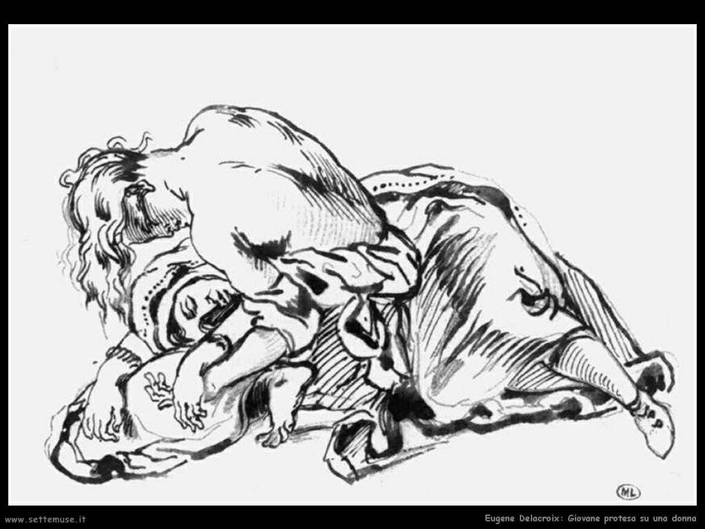 Eugène Delacroix Una giovane e una donna