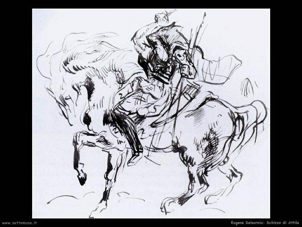 Eugène Delacroix Schizzo di Attila