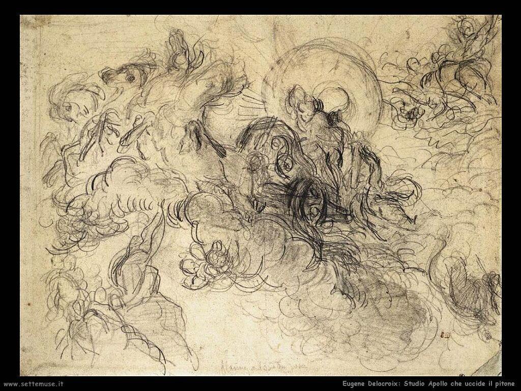 Eugène Delacroix Studio per Apollo che uccide il pitone