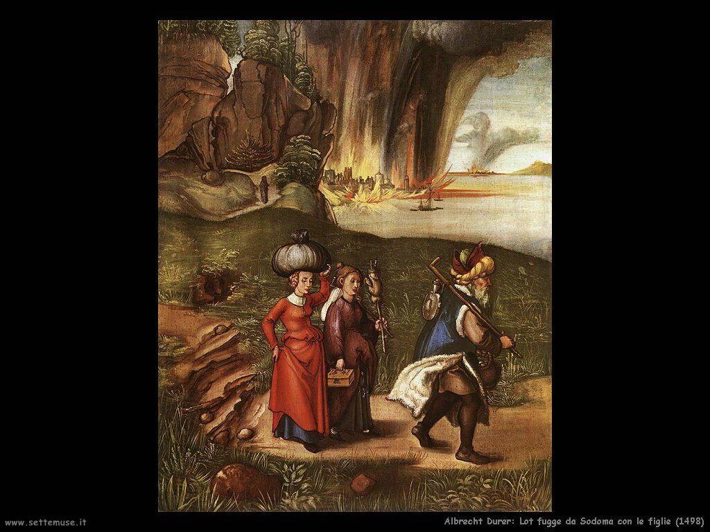 Lot fugge da Sodoma con le figlie (1498)