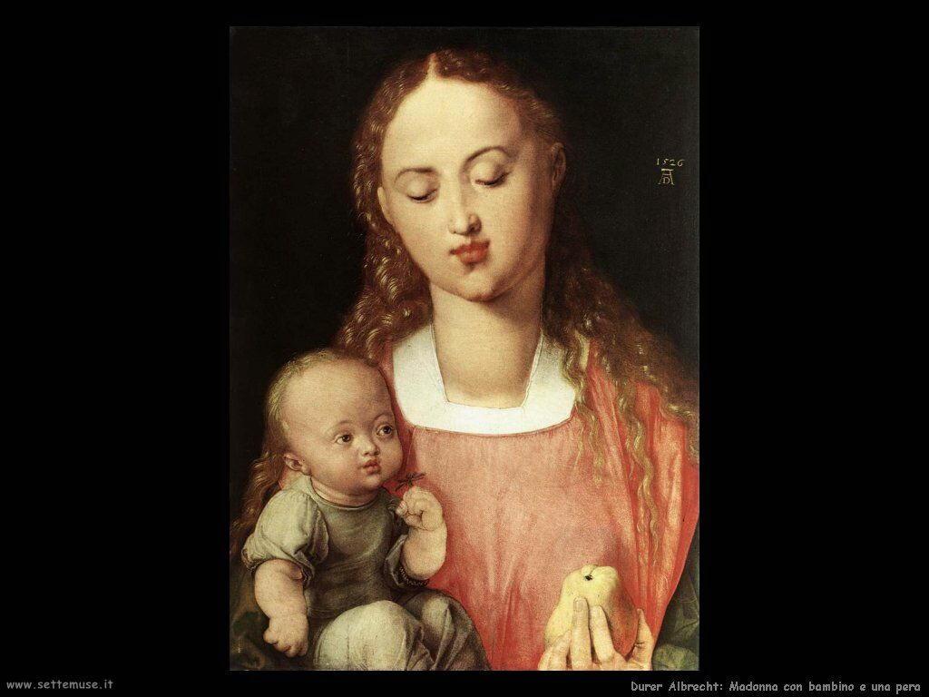 Madonna con bambino e una pera