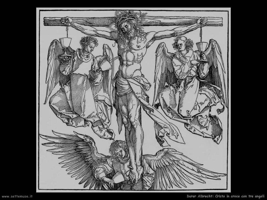 Cristo in croce con tre angeli