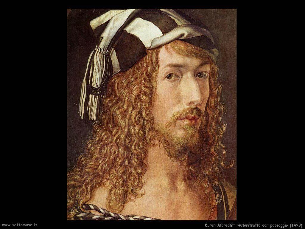 Autoritratto con paesaggio (1498) dettaglio