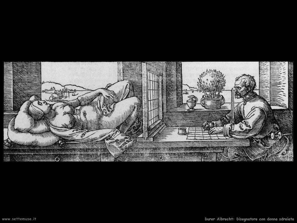 Il disegnatore con donna sdraiata