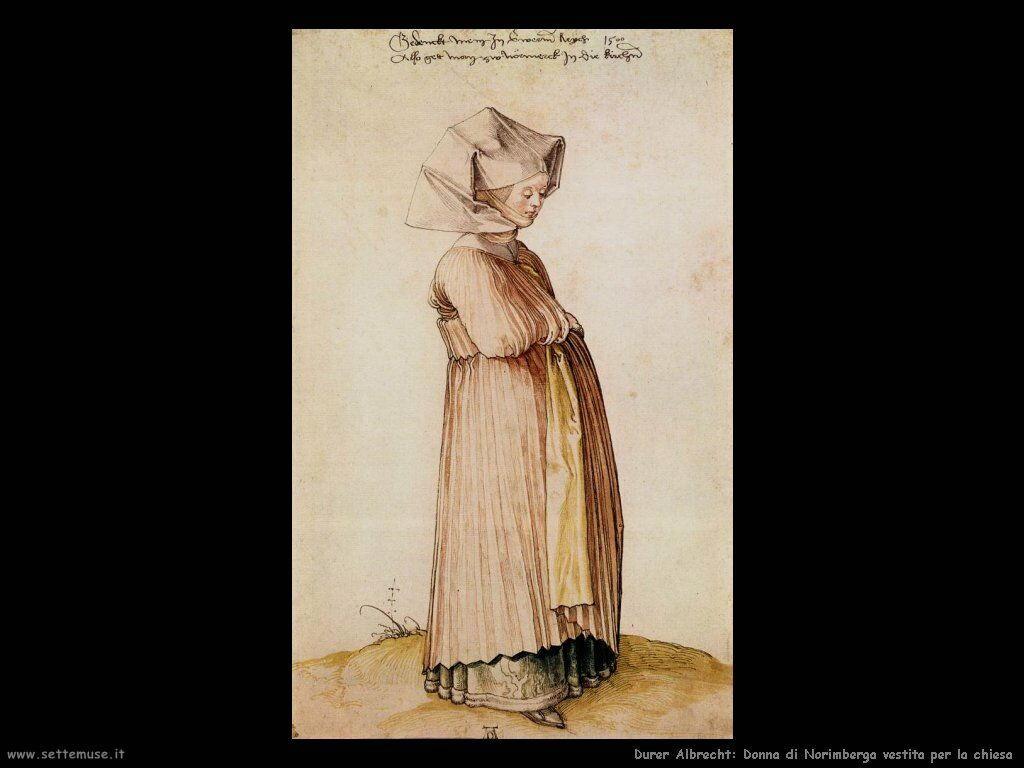 Donna di Norimberga vestita per la chiesa